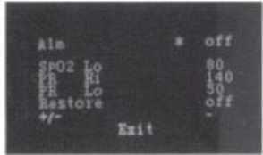 Tela Oximetro parametros