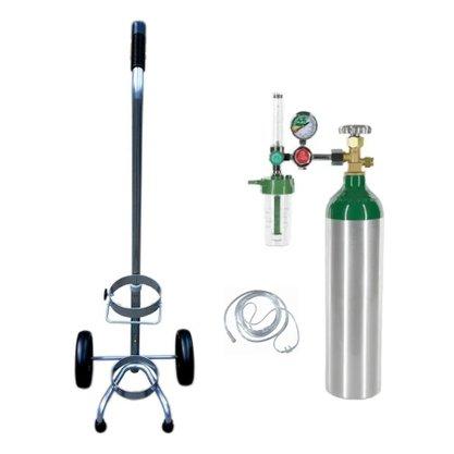 Kit Oxigênio Portátil 4,6 Litros Cilindro Alumínio com Carrinho